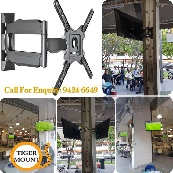supply single arm full motion tv bracket and wall mounting services at kopitiam (1)